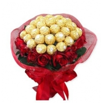 red roses with ferrero in bouquet to Philippines