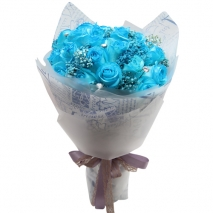 send 18 light blue roses in bouquet to philippines