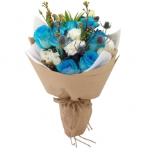 send 15 pcs. white and blue roses bouquet to philippines