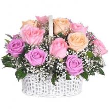 send 24 pcs. mixed ecuadorian roses in basket to philippines