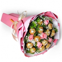 send 5 pcs. pink roses with ferrero in bouquet to philippines