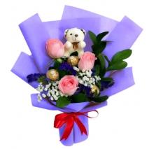 send 3 ecuadorian roses with ferrero and bear to philippines