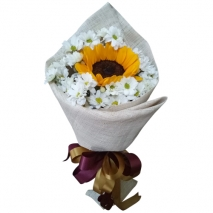 Single Sunflower with Seasonal Flower
