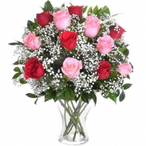 send 12 stems fresh mixed roses in vase to philippines
