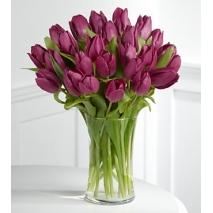 18 purple tulips in vase to philippines