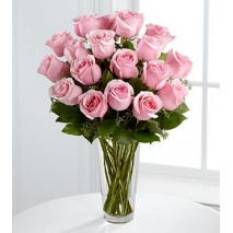 12 long stem pink rose in a glass vase to philippines