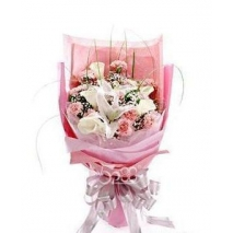 12 pink carnations with white lilies
