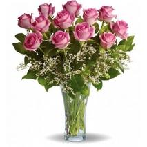 1 dozen pink roses vase to philippines