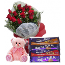 Red Roses Bouquet,Pink Bear with Cadbury Chocolates Delivery To Philippines