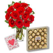 Red Roses Vase with 24pcs Ferrero Chocolate Delivery To Philippines