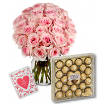 Pink Roses Vase with 24pcs Ferrero Chocolate Box Delivery To Philippines