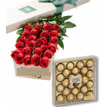 Red Roses Box with 24pcs Ferrero Chocolate Delivery To Philippines