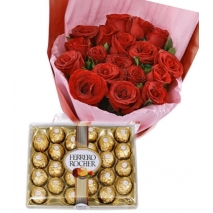 12 Red Roses bouquet with 24 pcs Ferrero chocolate To Philippines