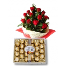 12 Red Roses with 24 pcs Ferrero chocolate To Philippines
