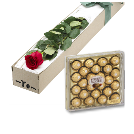 Single Red Roses Box with 24pcs Ferrero Chocolate Delivery To Philippines